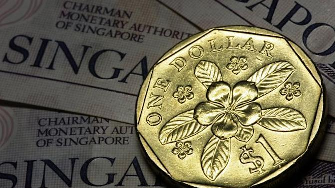 Photo illustration of Singapore one dollar coin.