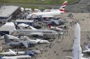An aerial view of the 50th Paris Air Show, at Le Bourget airport near Paris