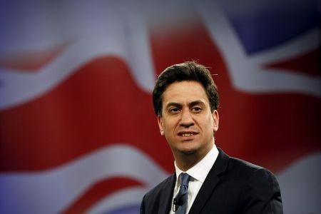 Britain's opposition Labour Party leader Miliband delivers an election speech to supporters at the Royal Horticultural Halls in London