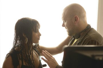 Alicia Keys and director Joe Carnahan on the set of Universal Pictures' Smokin' Aces