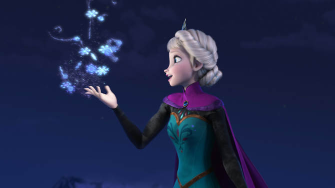 "FILE - This file image provided by Disney shows Elsa the Snow Queen, voiced by Idina Menzel, in a scene from the animated feature ""Frozen."" According to studio estimates Sunday, Jan. 5, 2014, Disney's ""Frozen"" remained atop the box office with $20.7 million, freezing out the horror spinoff ""Paranormal Activity: The Marked Ones."" (AP Photo/Disney, File)"