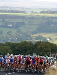 The 2004 Tour of Britain reaches Oxenhope, South Yorkshire. Yorkshire, which has some of England's most scenic countryside as well as former industrial towns such as Leeds and Bradford, has been lobbying intensely to host the start of the Tour de France