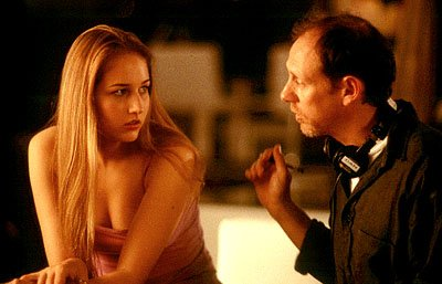 Leelee Sobieski and director Daniel Sackheim on the set of Columbia's The Glass House