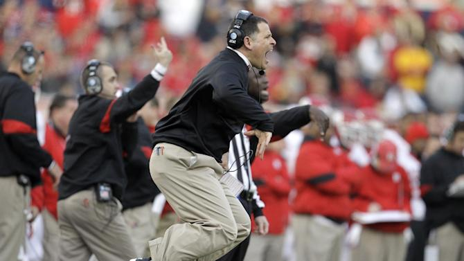 Rutgers head coach Greg Schiano reacts in the first quarter of the Pinstripe Bowl NCAA college football game against Iowa State, Friday, Dec. 30, 2011, at Yankee Stadium in the Bronx borough of New York. ( AP Photo/Julio Cortez)