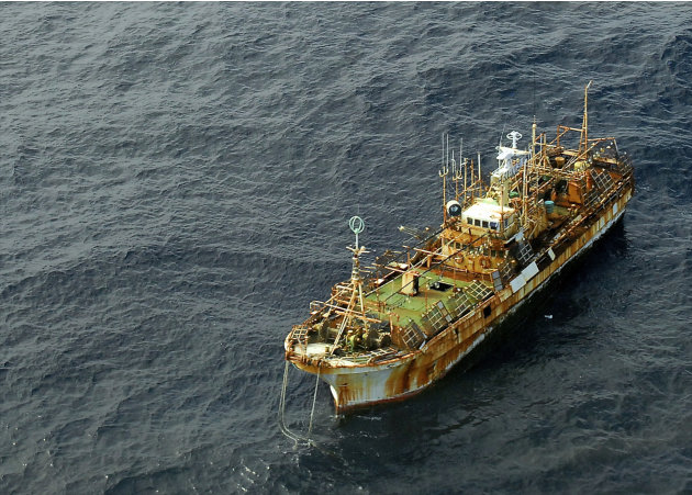 In a photo provided by the U.S. Coast Guard the unmanned Japanese fishing vessel Ryou-un Maru dirfts northwest in the Gulf of Alaska approximately 164 miles southwest of Baranof Island Wednesday April
