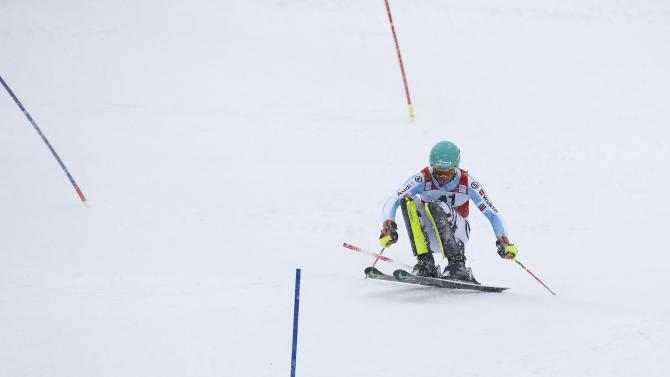 Neureuther of Germany competes during men's Alpine Skiing World Cup slalom in Kitzbuehel