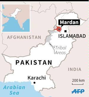 Map of Pakistan locating a suicide attack in Mardan…