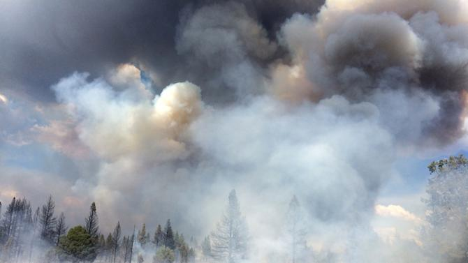 """In this Sunday July 13, 2014, photo released by the Oregon Dept. of Forestry, the Moccasin Hill fire burns north of Sprague River and northeast of Klamath Falls, Ore. Lightning struck Oregon more than 6,000 times Sunday and Monday, touching off small fires by the dozens. Such a barrage can be expected to cause numerous """"sleeper"""" or holdover fires in coming days. (AP Photo/Oregon Dept. of Forestry, Dennis Lee)"""