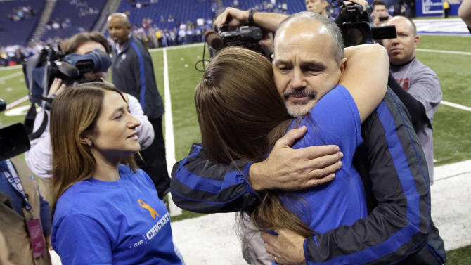 Indianapolis Colts head coach Chuck Pagano is greeted by family members after walking onto the field before an NFL football game against the Houston Texans, Sunday, Dec. 30, 2012, in Indianapolis. Pagano is back as coach after nearly three months of treatments for leukemia. (AP Photo/AJ Mast)
