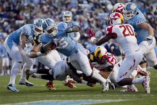 North Carolina beats Maryland 45-38 to end season