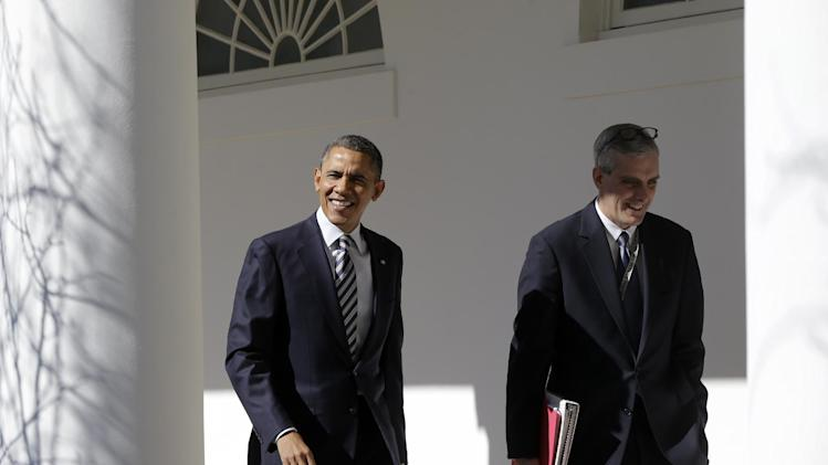 President Barack Obama walks with White House Chief of Staff Denis McDonough down the West Wing Colonnade of the White House in Washington, Tuesday, Feb. 12, 2013, ahead of tonight's State of the Union speech on Capitol Hill. (AP Photo/Charles Dharapak)
