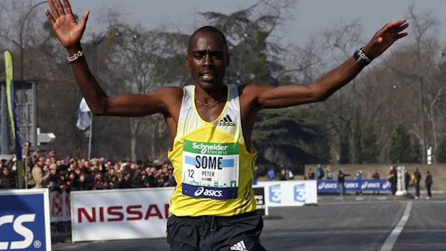 Kenya's Peter Some crosses the finish line to win the 37th Paris Marathon (Reuters)