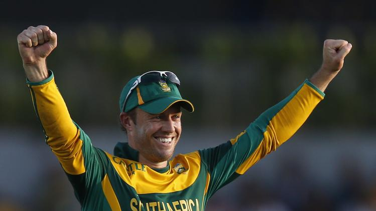 South Africa's captain AB de Villiers celebrates after winning the One Day International cricket series against Sri Lanka, at the final match in Hambantota