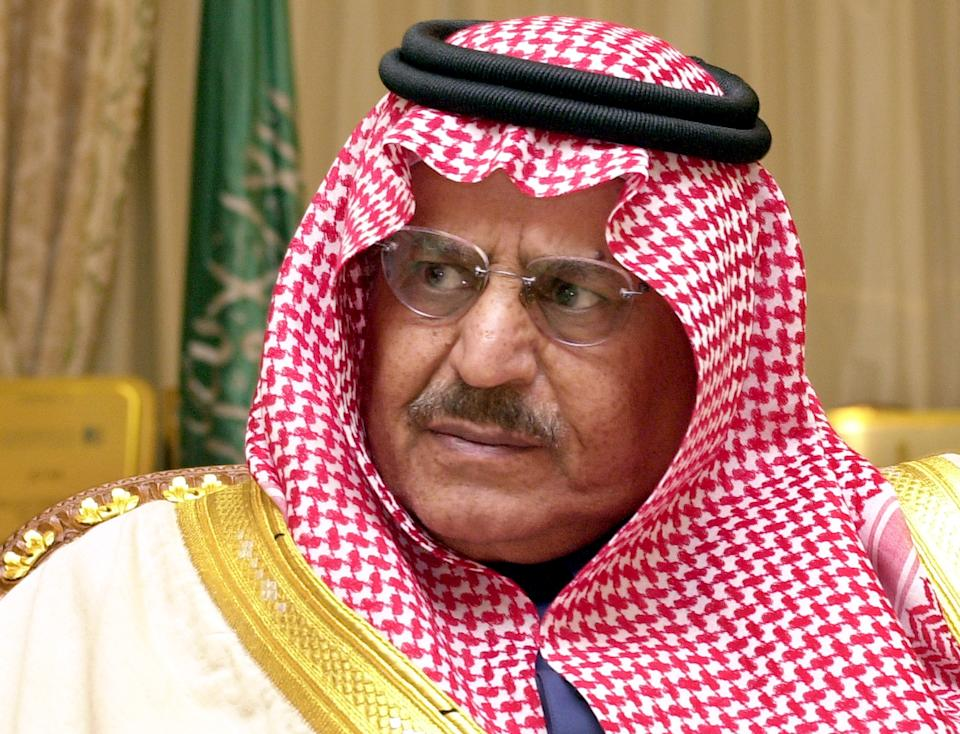 FILE - In this Wednesday, Feb. 5, 202 file photo, Saudi Interior Minister Prince Nayef is seen during an interview with The Associated Press at his office in Riyadh, Saudi Arabia. Saudi Arabia said Saturday, June 16, 2012 that Crown Prince Nayef has died in a US hospital.(AP Photo/Hasan Jamali)