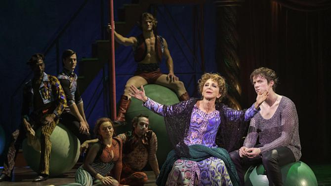 """This undated publicity photo provided by American Repertory Theater shows, Andrea Martin, center, as Berthe and, Matthew James Thomas, right, as Pippin, in a production of """"Pippin,"""" at the American Repertory Theater in Cambridge, Mass. (AP Photo/ American Repertory Theater, Michael J. Lutch)"""