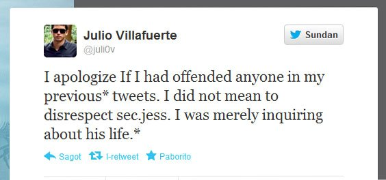 Julio Villafuerte's apology.