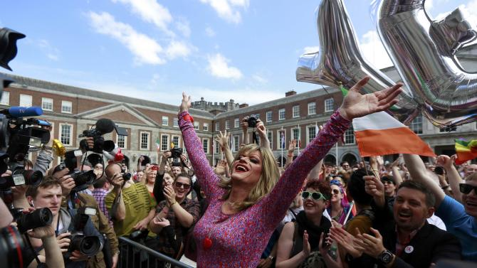 Same-sex marriage supporter Panti Bliss reacts at Dublin Castle in Dublin