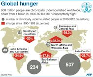 &lt;p&gt;Map showing food insecurity around the world in 2010-2012, compared to 1990-1992. The latest UN data from earlier this month shows some 870 million people -- around one in eight people in the world -- are starving or under-nourished.&lt;/p&gt;