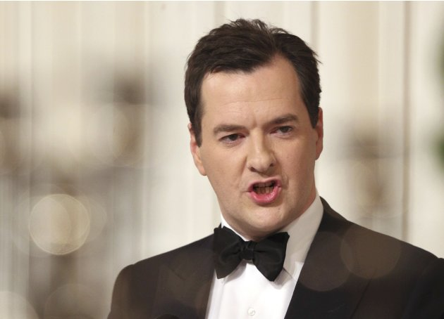 Britain's Chancellor of the Exchequer George Osborne speaks during the 'Lord Mayor's Dinner to the Bankers and Merchants of the City of London' at the Mansion House in London