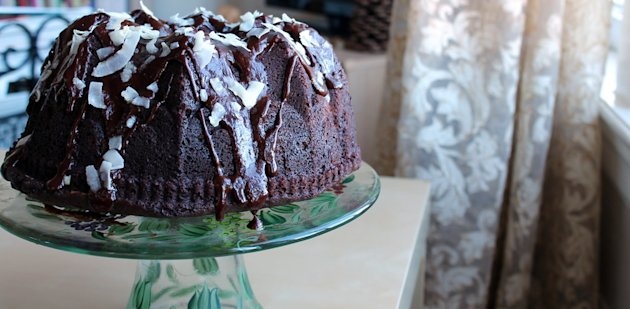 Chocolate Bundt Cake with Toasted Coconut Filling and Chocolate Ganache
