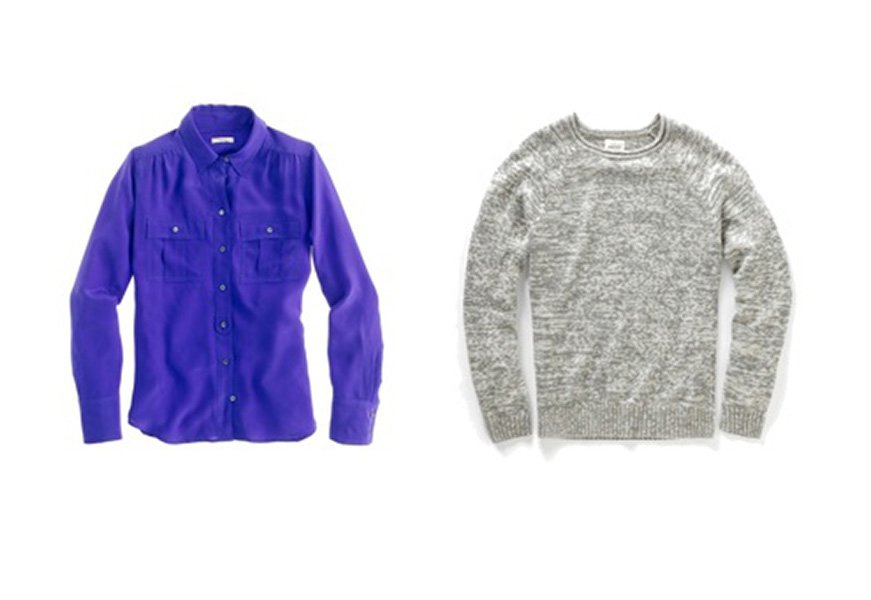 Layering a sweater over a collared shirt makes you look instantly polished up top. Top: J. Crew, $60. Sweater: Fossil, $78.