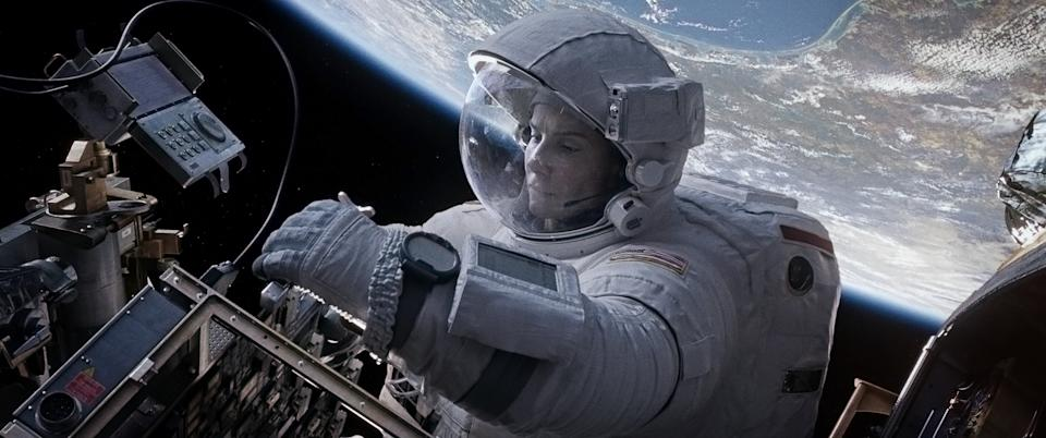 "This film image released by Warner Bros. Pictures shows Sandra Bullock in a scene from ""Gravity."" (AP Photo/Warner Bros. Pictures)"