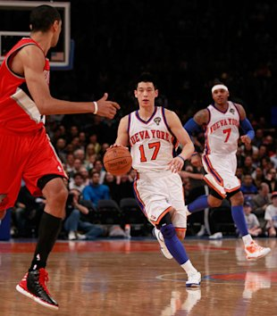 (L) Jeremy Lin #17 Of The New York Knicks Drives Getty Images