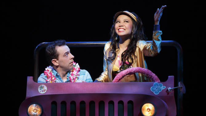 """FILE - This file image released by Boneau/Bryan-Brown shows Rob McClure, left, and Catherine Ricafort in a scene from """"Honeymoon in Vegas"""" in New York. Producers of the show said Tuesday, March 31, 2015, that the musical starring Tony Danza, McClure and Brynn O'Malley will close Sunday after good reviews but dismal box office receipts. (AP Photo/Boneau/Bryan-Brown, Joan Marcus, File)"""