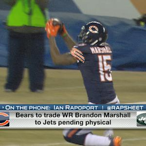 How does New York Jets decision to trade for wide receiver Brandon Marshall affect wide receiver Percy Harvin?
