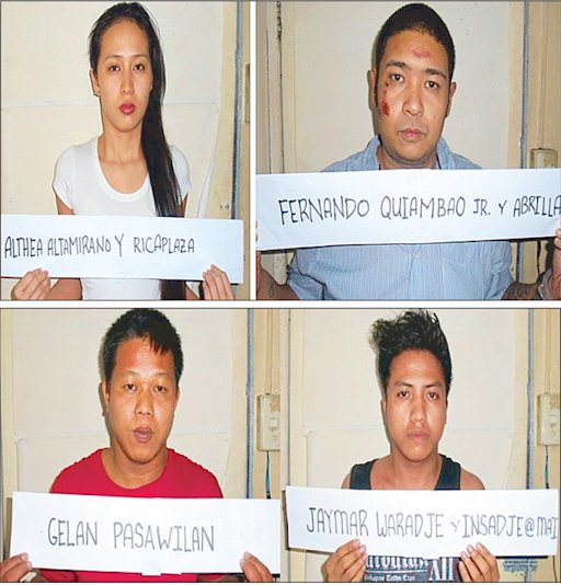Model Althea Altamirano; her boyfriend, tattoo shop owner Fernando Quiambao Jr.; Jaymar Waradje and Gelan Pasawilan pose for mugshots taken at the Quezon City Police District following their arrest Sunday.