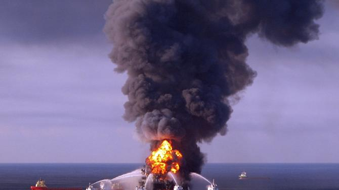 A US Coast Guard image of fire boat response crews as they battle the blazing remnants of the BP operated offshore oil rig Deepwater Horizon in the Gulf of Mexico on April 21, 2010