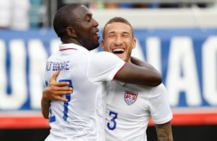 Jozy Altidore (17) is congratulated by defender Fabian Johnson after Altidore's first goal. (Reuters)