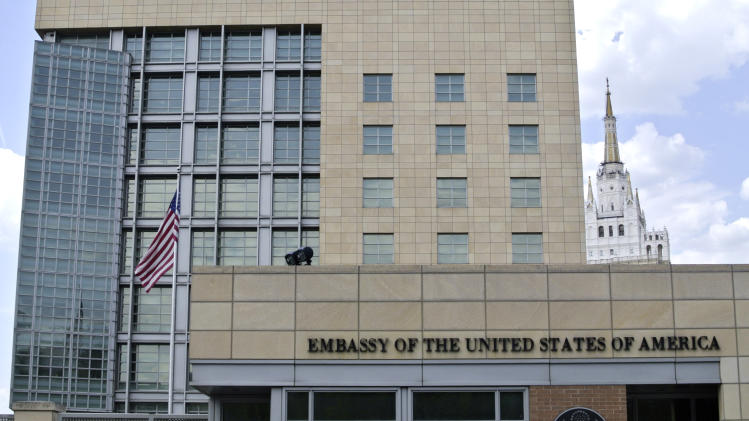 A view of the main building of the U.S. Embassy in downtown Moscow, Russia, on Tuesday, May 14, 2013. Russia's security services said Tuesday that they detained a U.S. diplomat they claim is a CIA agent after they caught him red-handed trying to recruit a Russian agent. (AP Photo/Ivan Sekretarev)