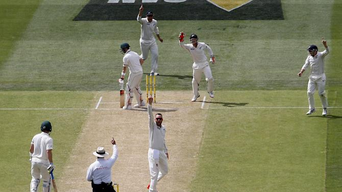 New Zealand's Craig appeals successfully for the wicket of Australia's captain Smith for 53 runs during the second day of the third cricket test match at the Adelaide Oval, in South Australia