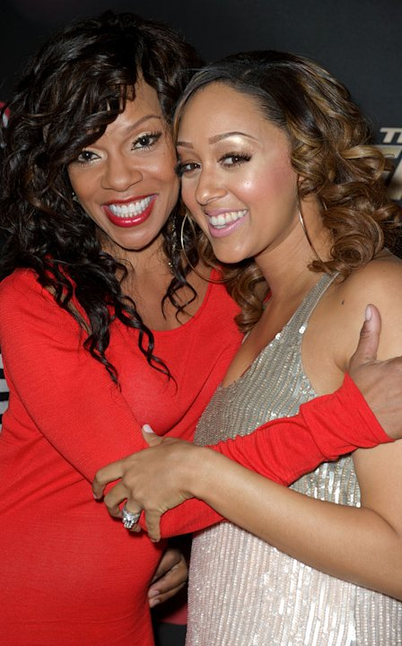 "Wendy Raquel Robinson and Tia Mowry arrive at BET's ""The Game"" and ""Let's Stay Together"" premiere party at the Hollywood Roosevelt Hotel on January 5, 2012 in Hollywood, California."