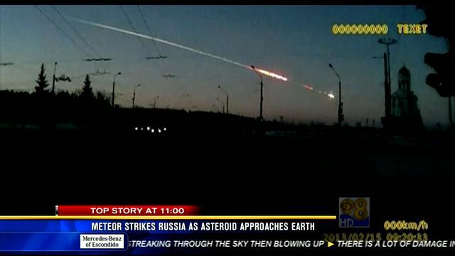 Meteor strikes Russia as asteroid approaches Earth