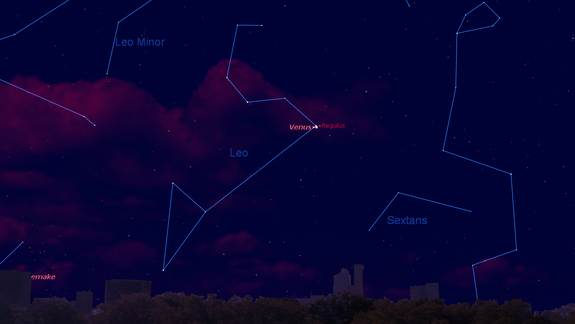 Venus and Bright Star Shine Together at Dawn Wednesday