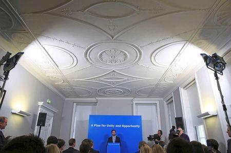 Britain's Work and Pensions Secretary, Stephen Crabb, speaks at a news conference in London