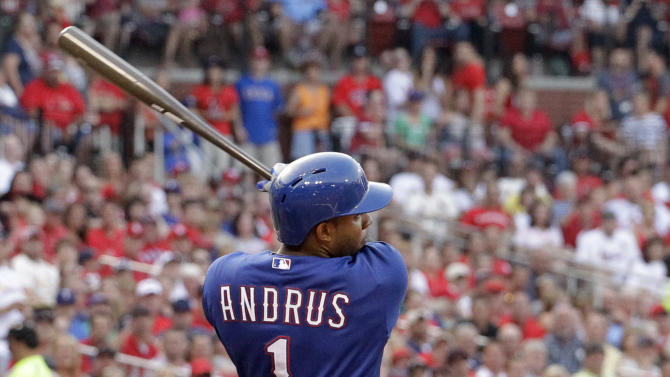 Texas Rangers' Elvis Andrus his a two-run single during the second inning of a baseball game against the St. Louis Cardinals, Friday, June 21, 2013, in St. Louis. (AP Photo/Jeff Roberson)