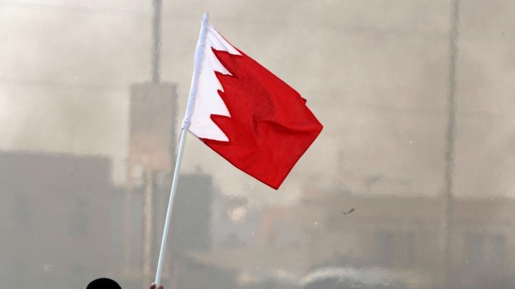 A Bahraini anti-government protester holds a national flag during clashes with riot police in Ma'ameer, Bahrain, Thursday, Jan. 24, 2013. Riot police in Bahrain fired tear gas and stun grenades at anti-government protesters whose chants included calls to reject proposed talks aimed at easing nearly two years of unrest in the Gulf nation. (AP Photo/Hasan Jamali)