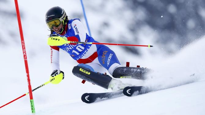 Holdener from Switzerland clears a gate during the first run of the World Cup Women's Slalom race in Kuehtai ski resort