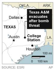 Texas A&M evacuates its campus after receiving a campus-wide bomb threat;