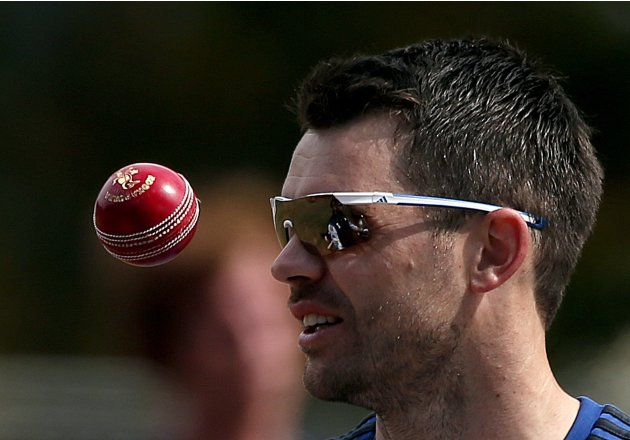 England cricket team bowler Anderson throws a ball during a training session at the University Oval in Dunedin