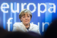 """<p> German Chancellor Angela Merkel attends a discussion panel on """"making Europe strong"""" during the Europe forum conference, organized by German public-broadcaster WDR, in Berlin, Germany, Thursday, May 16, 2013. (AP Photo/Gero Breloer)"""