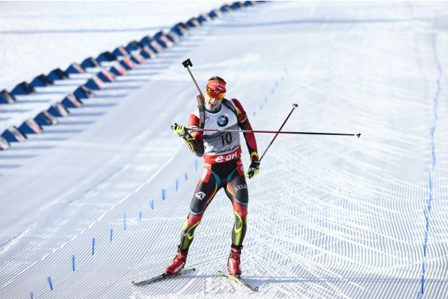 Ondrej Moravec of the Czech Republic competes in the men's 15 km mass start race at the Biathlon World Cup in Oslo
