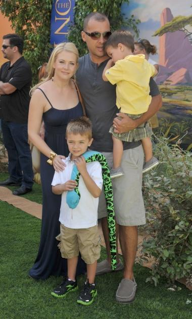 Melissa Joan Hart, husband Mark Wilkerson and sons arrive at the Los Angeles Premiere of 'The Lion King 3D' at the El Capitan Theatre, Hollywood, on August 27, 2011 -- FilmMagic