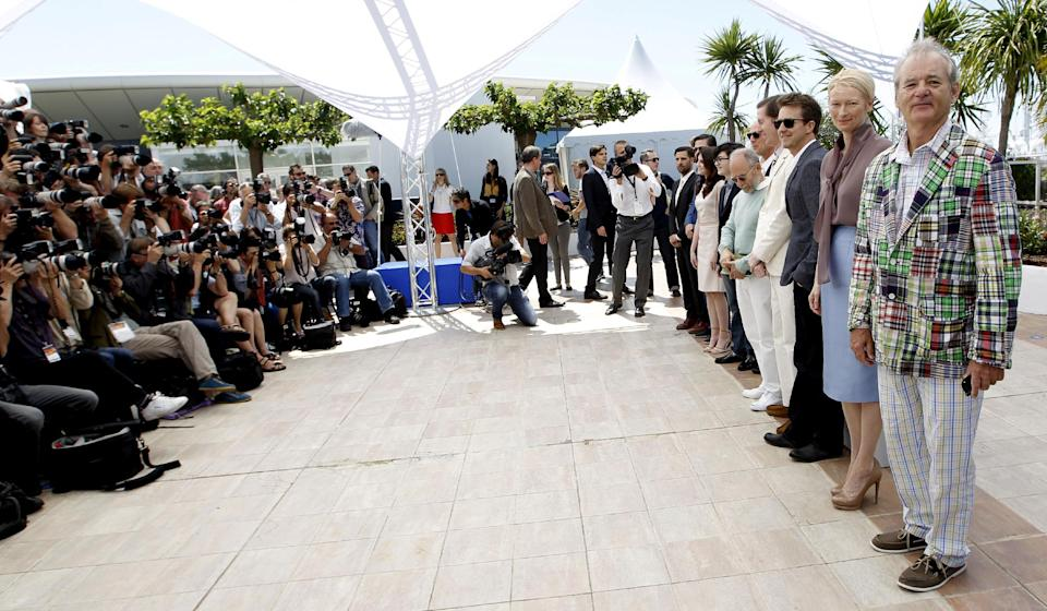 From right, actors Bill Murray, Tilda Swinton, Edward Norton and Director Wes Anderson, Bob Balaban and Bruce Willis pose during a photo call for Moonrise Kingdom at the 65th international film festival, in Cannes, southern France, Wednesday, May 16, 2012. (AP Photo/Joel Ryan)