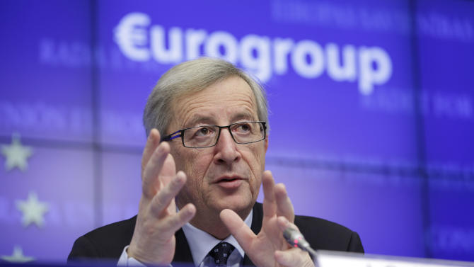Luxembourg's Prime Minister Jean-Claude Juncker pauses before speaking during a media conference after a meeting of eurozone finance ministers at the EU Council buidling in Brussels on Monday, March 12, 2012. The 17 euro countries are trying to focus on issues beyond the Greek crisis and deal with longer-term issues in their currency union. Finance ministers, meeting in Brussels on Monday, will discuss Spain's high deficits and potentially dangerous imbalances in other countries. (AP Photo/Virginia Mayo)