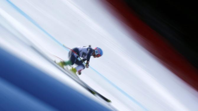 Merighetti of Italy skis during the Alpine Skiing World Cup women's downhill race in the Bavarian ski resort of Garmisch-Partenkirchen