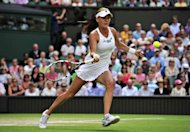 Poland&#39;s Agnieszka Radwanska plays a forehand shot during her women&#39;s singles semi-final victory over Germany&#39;s Angelique Kerber on day 10 of the 2012 Wimbledon Championships tennis tournament at the All England Tennis Club in Wimbledon, southwest London. Radwanska will meet Serena Williams in the final